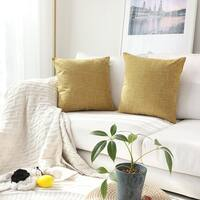 Throw Cushion Cover Faux Linen Honey Yellow, Set of 2