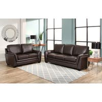 Abbyson Bella Brown Top Grain Leather 2 Piece Living Room Set - Dark Brown (As Is Item)