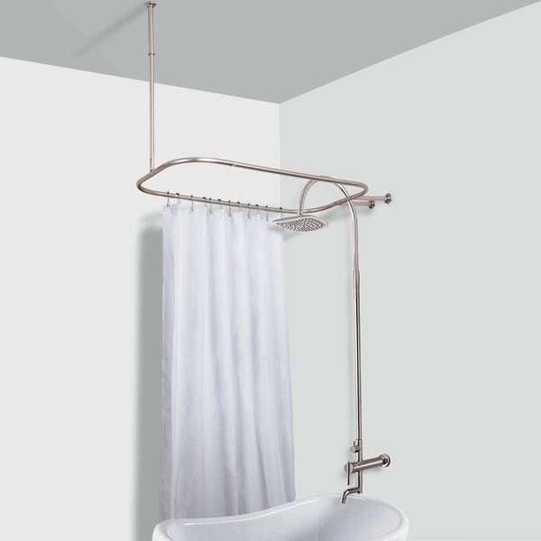 Rustproof Hoop Shower Rod for Clawfoot Tub (Brushed), Sil...