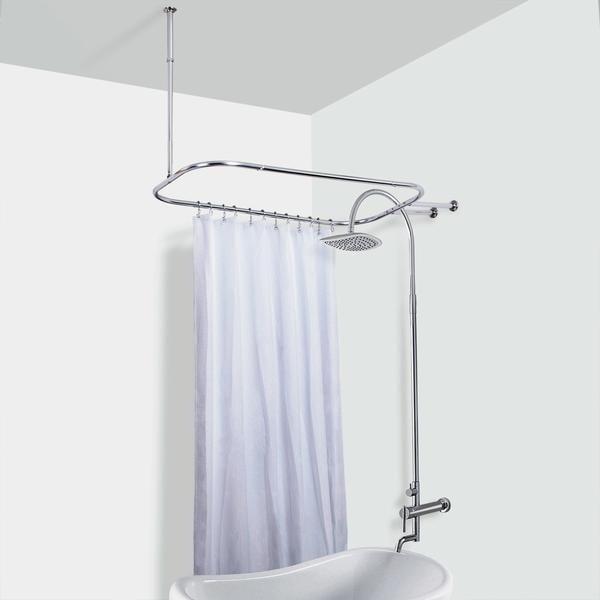 Brass Tone Vintage Metal Shower Tub Curtain Rod Free Shipping
