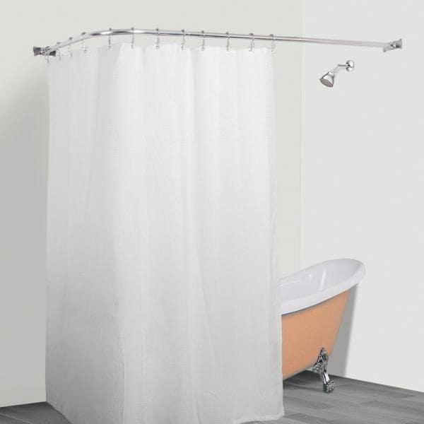 Shop Rustproof L Shaped Corner Shower Curtain Rod Overstock