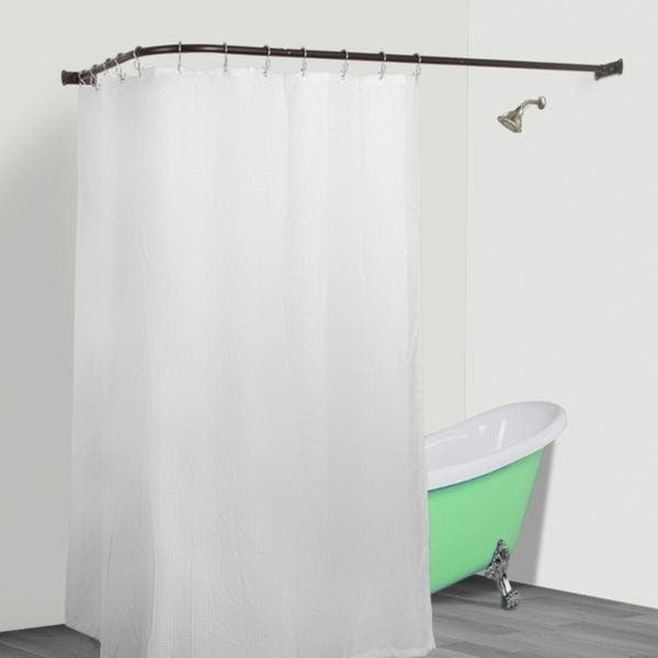 Rustproof L Shaped Corner Shower Curtain Rod Free