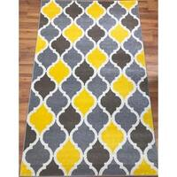 Antep Rugs RAINBOW Collection Kimberley Daimond Area Rug Yellow/Brown - 8' x 10'