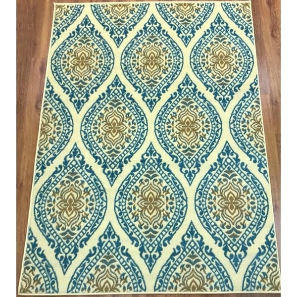 Antep Rugs Kashan King Collection 512 Area Rug Blue and Cream - 8' x 10'