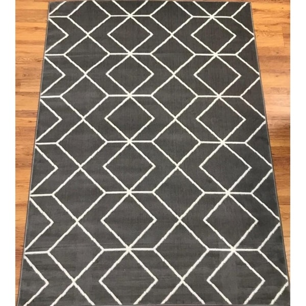 Antep Rugs Kashan King Collection 507 Trellis Area Rug Grey And Cream 8 X27