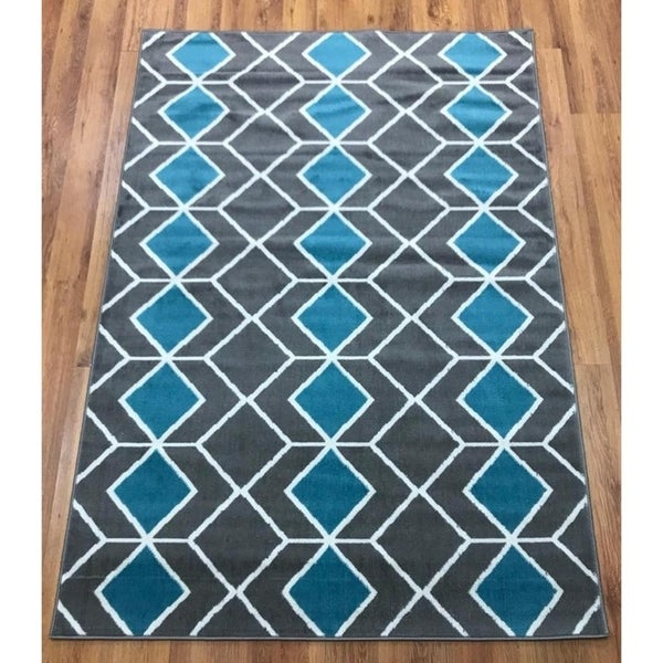 Antep Rugs Kashan King Collection 509 Trellis Area Rug Blue and Grey - 8' x 10'