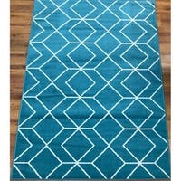 Antep Rugs Kashan King Collection 507 Trellis Area Rug Blue and Cream - 8' x 10'