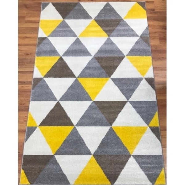 Antep Rugs Rainbow Collection 7 Dimensions Area Rug Yellow Brown 8 X27