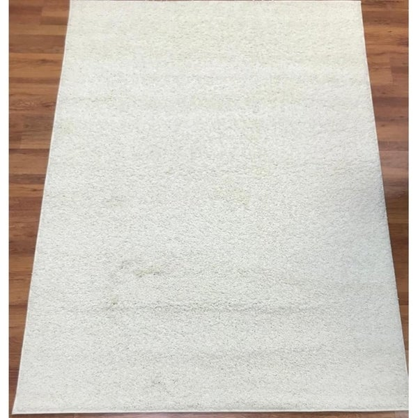 Antep Rugs Star Shaggy Collection STS2 Cozy Star Solid Area Rug Cream - 8' x 10'