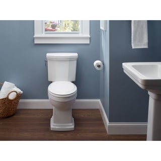Toto Promenade II Two-Piece Elongated 1.28 GPF Universal Height Toilet with CeFiONtect, Cotton White (CST404CEFG#01)