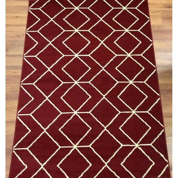 Antep Rugs Kashan King Collection 507 Trellis Area Rug Maroon and Cream - 5' x 7'