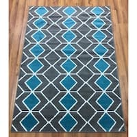 Antep Rugs Kashan King Collection 509 Trellis Area Rug Blue and Grey - 5' x 7'