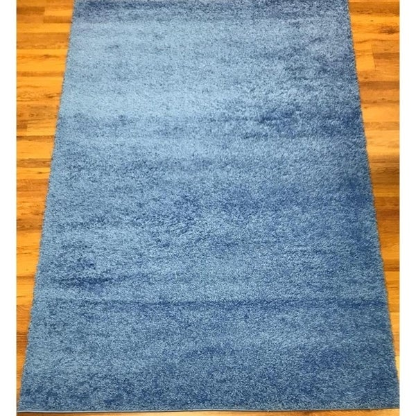 "Antep Rugs Star Shaggy Collection STS2 Cozy Star Solid Area Rug Blue - 5'3"" x 7'"