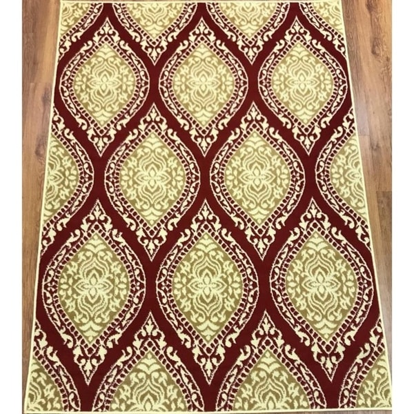 Antep Rugs Kashan King Collection 512 Area Rug Maroon and Beige - 5' x 7'