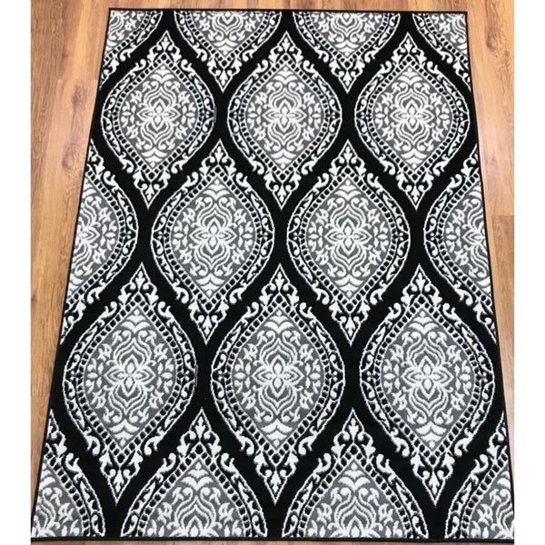 Antep Rugs Kashan King Collection 512 Area Rug Gray and Black - 5' x 7'