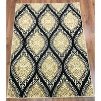 Antep Rugs Kashan King Collection 512 Area Rug Black and Beige - 5' x 7'