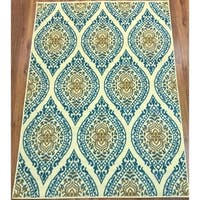 Antep Rugs Kashan King Collection 512  Area Rug Blue and Cream 5' X 7' - 5' x 7'