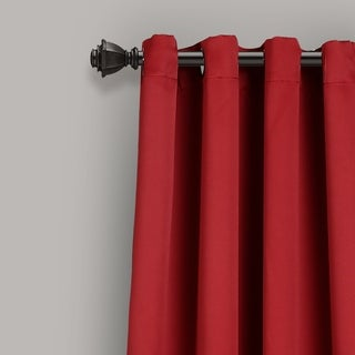 Lush Decor Insulated Grommet Blackout Curtain Panel Pair (Casual/Transitional - Red - Solid - Blackout - Bronze Finish - 84 Inches - 84 Inches)