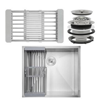 "AKDY KS0121 25"" x 22"" x 9"" Under Mount Handmade Stainless Steel Single Bowl Kitchen Sink - Silver"