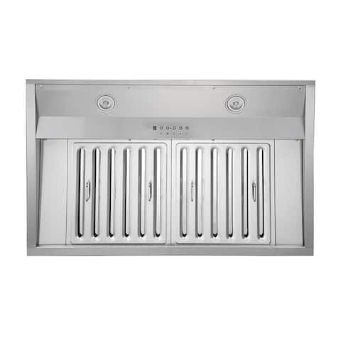 KOBE IN26 SQB-1100-5A Deluxe 36 or 48-inch Built-In/ Insert Range Hood, 6-Speed, 1100 CFM, LED Lights, Baffle Filters