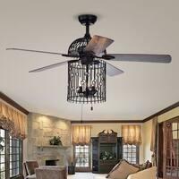 Blodwyn 3-light Bird Cage 5-blade 52-inch Matte Black Ceiling Fan