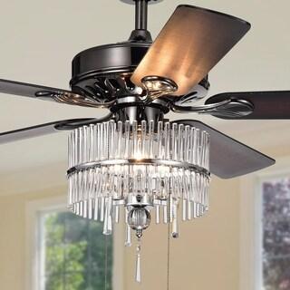 Bilhah 3-light Crystal 5-blade 52-inch Pear Black Ceiling Fan