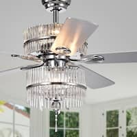 Wyllow 6-light Crystal 5-blade 52-inch Chrome Ceiling Fan (Optional Remote)