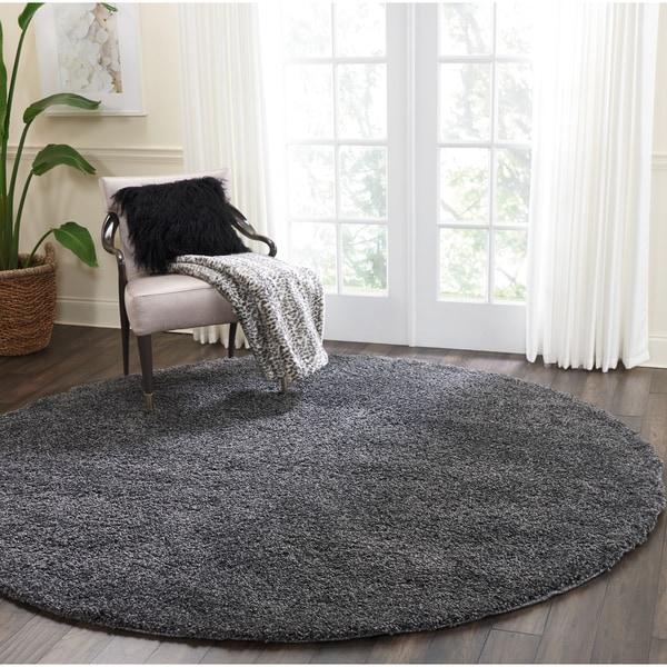 Nourison Malibu Dark Grey Solid Shag Round Rug (7'10 X Round)