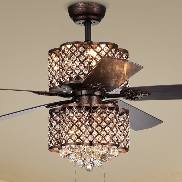 Quincy 6 light crystal 5 blade 52 inch rustic bronze ceiling fan