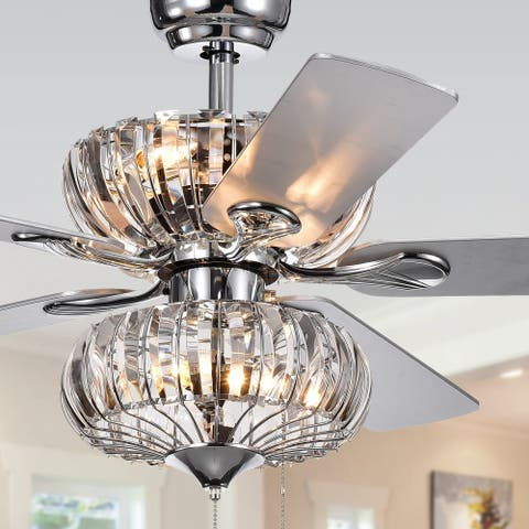 Buy warehouse of tiffany ceiling fans online at overstock our kyana 6 light crystal 5 blade 52 inch chrome ceiling fan remote aloadofball Choice Image
