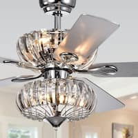 Kyana 6-light Crystal 5-blade 52-inch Chrome Ceiling Fan