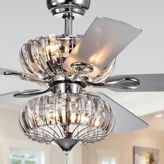 Ceiling fans with lights for less overstock kyana 6 light crystal 5 blade 52 inch chrome ceiling fan remote aloadofball Gallery