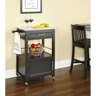 Porch & Den Bigelow Black Wood/ Granite Top Kitchen Cart