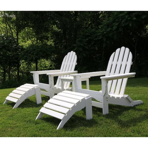 Wyndtree 4 Piece Recycled Plastic Folding Adirondack Chair with Ottoman Set, Made in USA