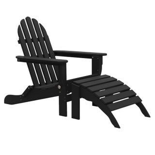 Wyndtree 2 Piece Recycled Plastic Folding Adirondack Chair with Ottoman Set, Made in USA
