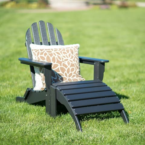Nelson 2-piece Recycled Plastic Folding Adirondack Chair with Ottoman Set by Havenside Home
