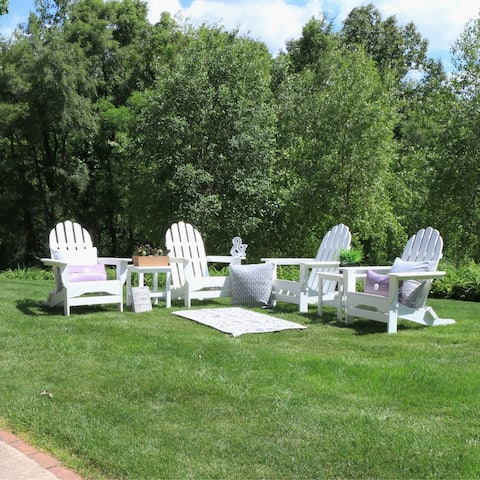 Nelson 6-piece Recycled Plastic Folding Adirondack Chairs and Side Table Set by Havenside Home
