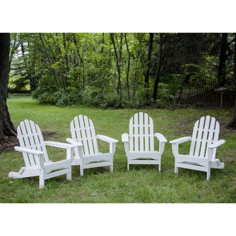 Havenside Home Nelson 4-piece Recycled Plastic Folding Adirondack Chair Set
