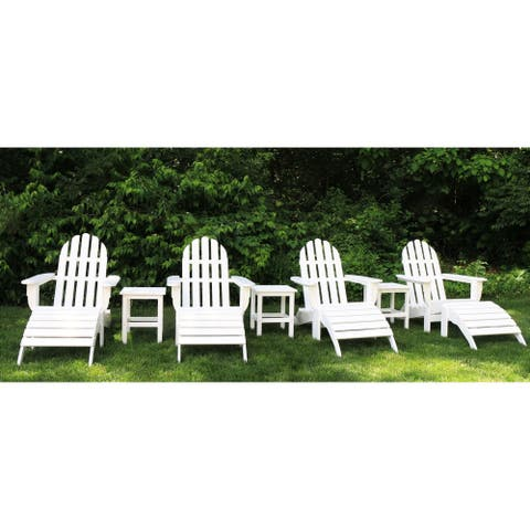 Havenside Home Nelson 8-piece Recycled Plastic Folding Adirondack Chairs and Ottoman Set