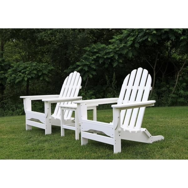 DuroGreen All Weather Adirondack/Side Table Set White