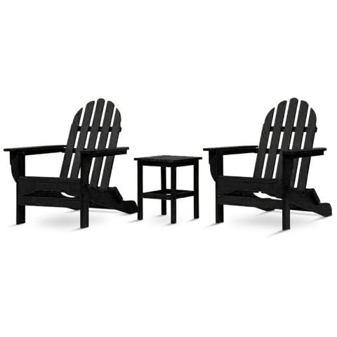 Nelson 3-piece Recycled Plastic Folding Adirondack Chairs and Side Table Set by Havenside Home