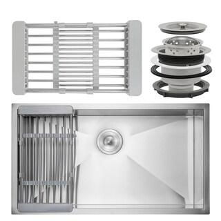 "AKDY KS0122 33"" x 22"" x 9"" Under Mount Handmade Stainless Steel Single Bowl Kitchen Sink - Silver"