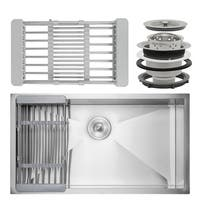 "AKDY KS0122 33"" x 22"" x 9"" Under Mount Handmade Stainless Steel Single Bowl Kitchen Sink"