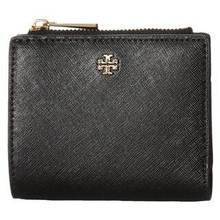 Tory Burch Robinson Mini Leather Bi-fold Black Wallet