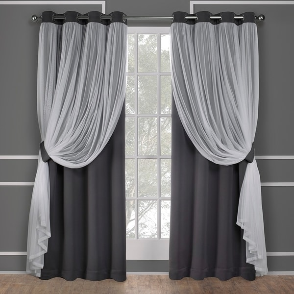 Ati Home Catarina Layered Blackout And Sheer Curtain Panel Pair W Grommet Top 108