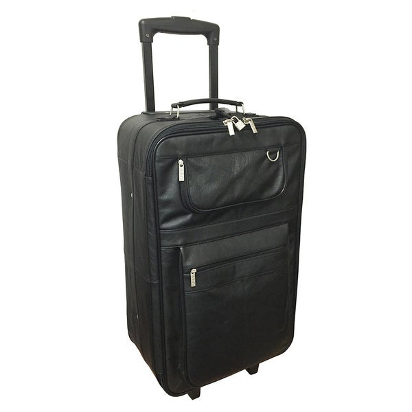 Amerileather Black Leather 26-inch Rolling Upright Suitcase - Free ...