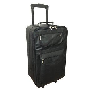 Amerileather Black Leather 26-inch Rolling Upright Suitcase