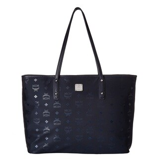 MCM Dieter Monogram Nylon Top Zip Navy Shopper Bag