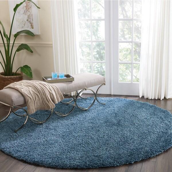 """Nourison Malibu Blue Solid Shag Round Rug (7'10 Round) - 7'10"""" x round"""