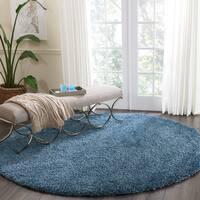 Nourison Malibu Blue Solid Shag Round Rug (7'10 Round)